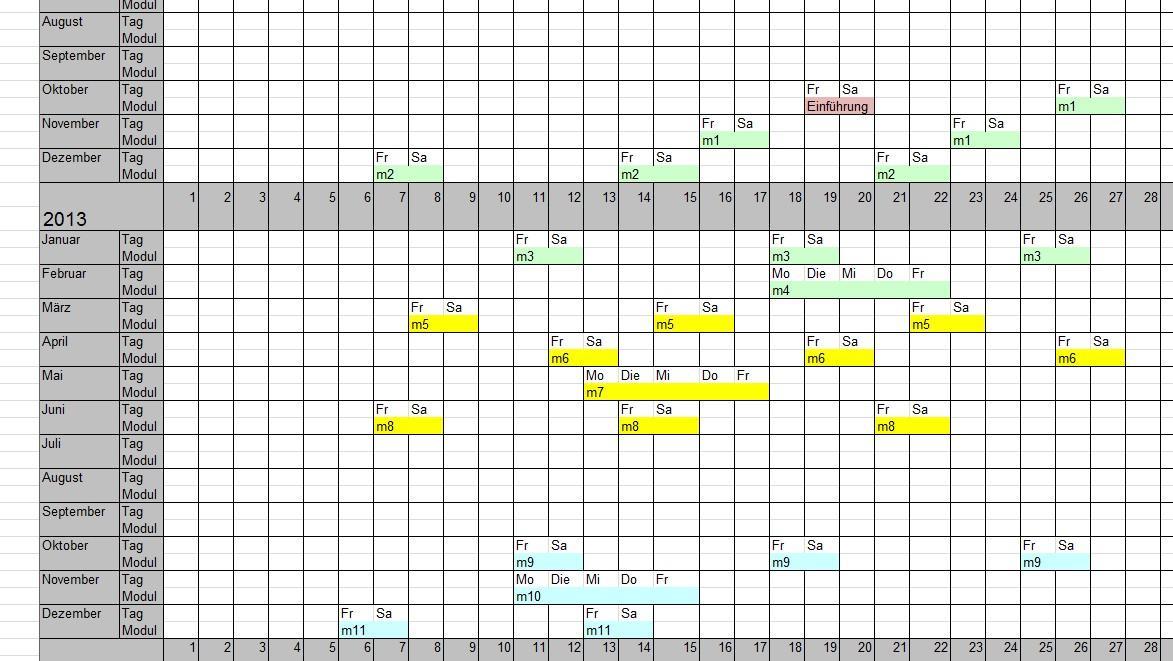 Beispiel Terminübersich Detailplan